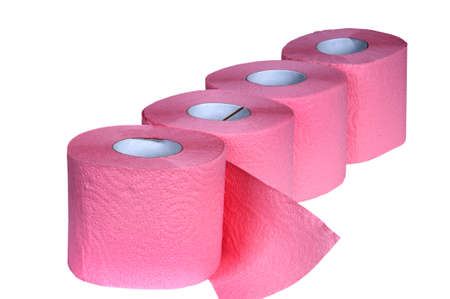 Pink Toilet Paper isolated on white  Stock Photo - 16048361
