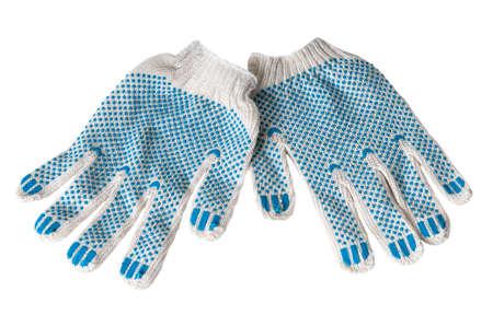 wrist cuffs:  work gloves isolated on white background. Stock Photo
