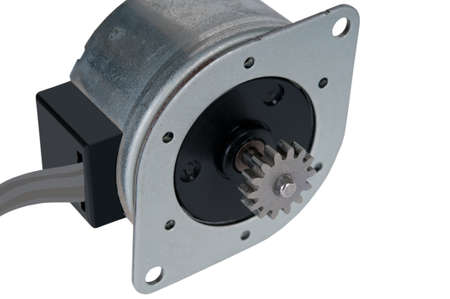 electromechanical: Small electric stepping motor with a cable