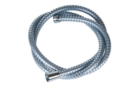 iron curtains: hose for a shower on a white background.