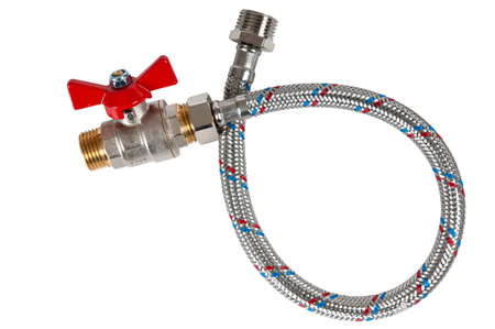 Braided flexible water hose and Water ball valve photo