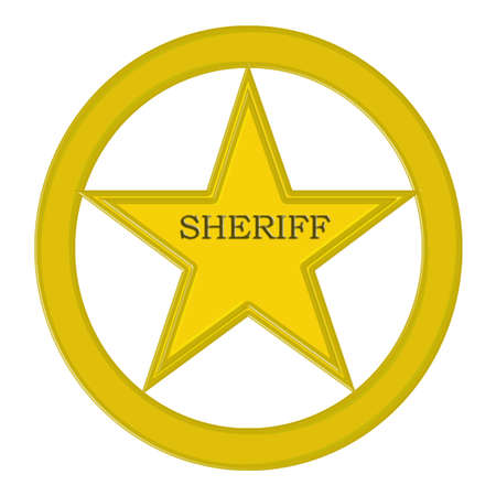 Blank golden sheriff star isolated on white background   photo