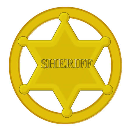 Blank golden sheriff star isolated on white background   photo