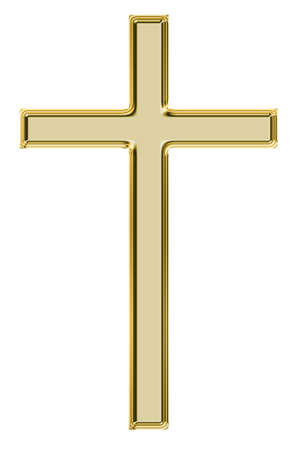 Gold  cross isolated on white   photo