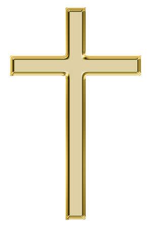 simbolos religiosos: Oro cruz aislados en blanco Foto de archivo