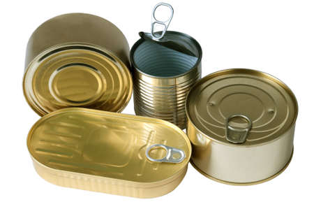 canned food: Tin cans isolated on white
