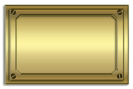 name plate: the gold metal plate with screw