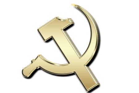 hammer and sickle: gold sickle and hammer  Stock Photo