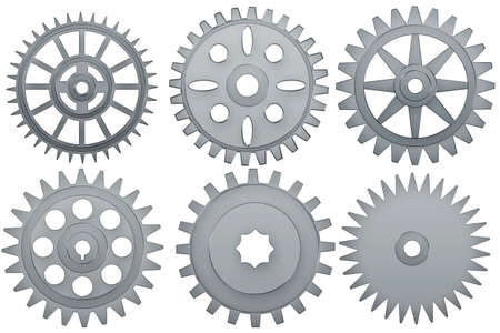 Set of steel   cogwheels on a white background. photo