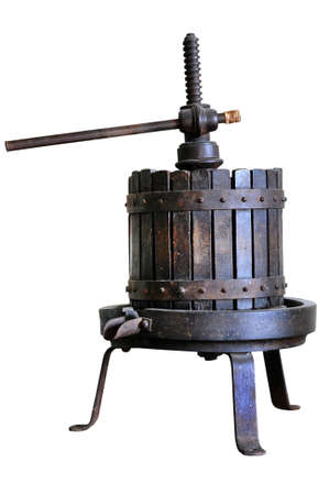 Wine press isolated on white background  Traditional old technique of wine-making  photo