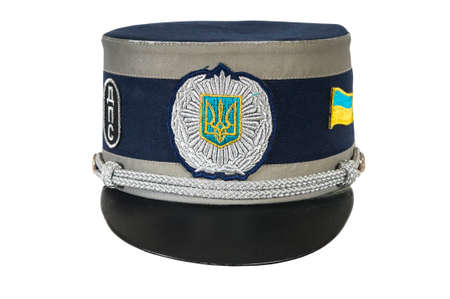 corporal: police hat, against a white background of the Ukraine police officer