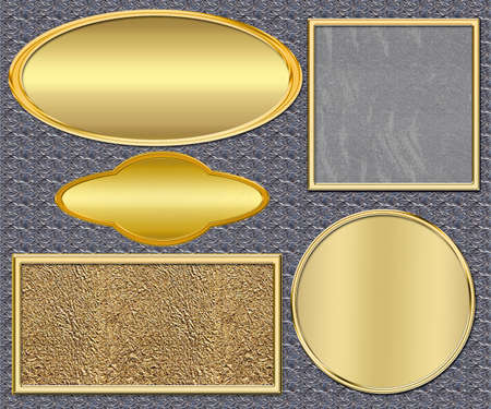 Gold plates on a metal background