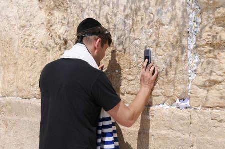 JERUSALEM -July 27 : Jews prays at the Western Wall July 27 , 2012 in Jerusalem, Israel.
