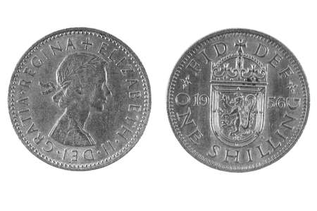 shilling: Old British Shilling Stock Photo
