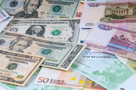 roubles: Background from roubles, dollars and euro.