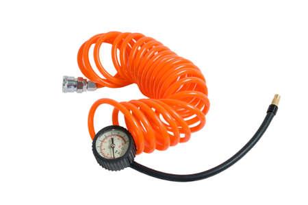 compressed air: Orange hose with the manometer.