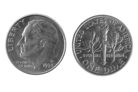 dime: Old American one dime coin Liberty Stock Photo