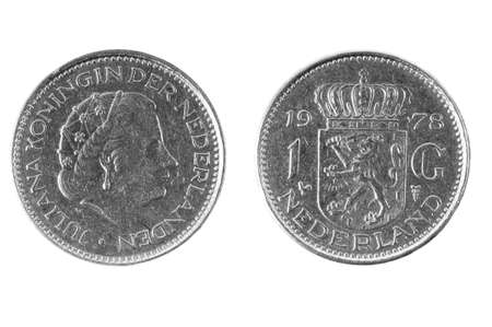 multiple objects: Coins of the Netherlands One Guilder.