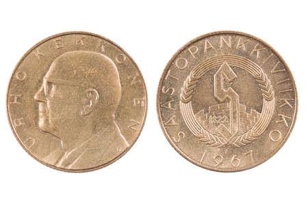Alte Finnische Münze Isoliert Auf Weißem Hintergrund Lizenzfreie