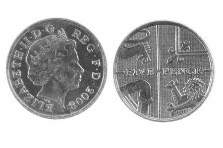 quid: British Five Pence Coin