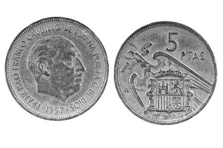 numismatics: Old Spanish coin of 5 pesetas.1957 Stock Photo