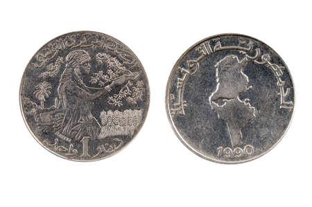 dinar: Tunisia 1 dinar,1990 Stock Photo