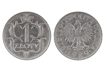 1: Coin 1 zloty. Poland Stock Photo