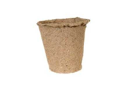 turf: Peat pots isolated over white Stockfoto