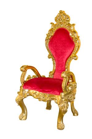trono: Silla roja vieja en un fondo blanco.
