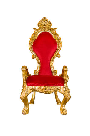 kings: Old red chair on a white background. Stock Photo