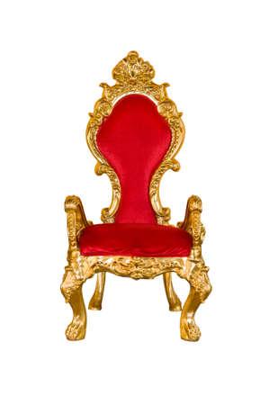 silla: Silla roja vieja en un fondo blanco.