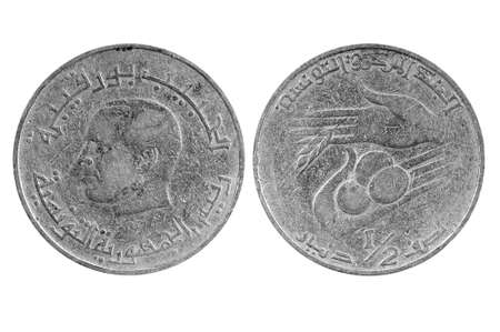 tunisie: old coin of Tunisia.