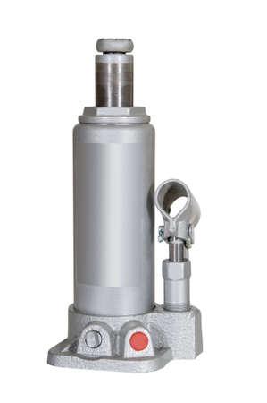 screw jack: Hydraulic floor jack isolated on white background
