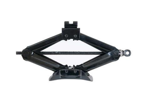 screw jack: black scissor jack or car lifter isolated on white background Stock Photo