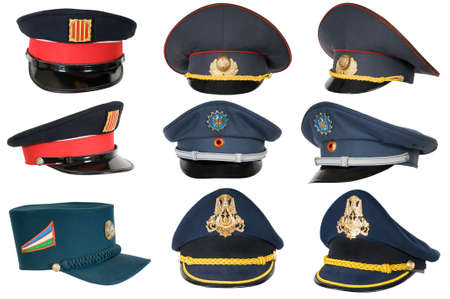 corporal: Collection of police peak-caps.