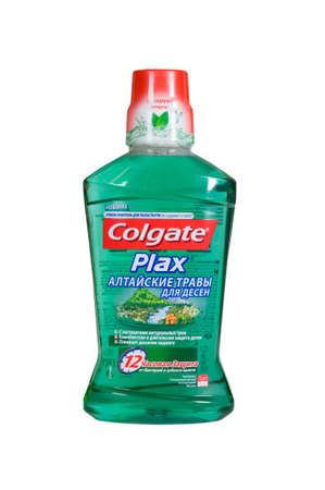 freshening: Moscow, Russia November 09,2015: Bottle of Colgate Plax Antibacterial Mouth. Made by Colgate - Palmolive. Editorial