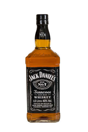 daniels: Moscow, Russia November 09,2015: botle of Jack Daniels. Jack Daniels is a brand of sour mash Tennessee whiskey