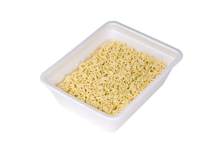 Instant noodles on white background. Stock Photo