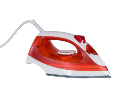 ironed: red iron ironed electric isolated on white background Stock Photo
