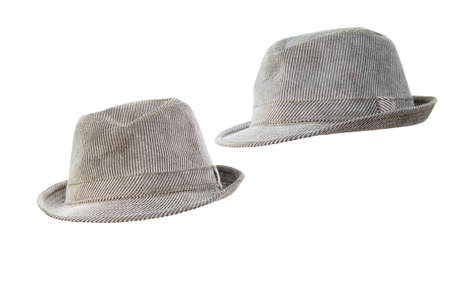 Two gray hats on a white background.
