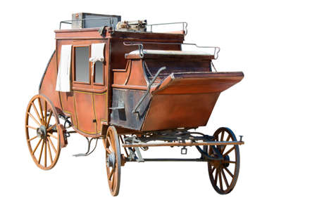 Old wooden carriage on a white