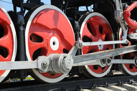 wheels of an ancient locomotive