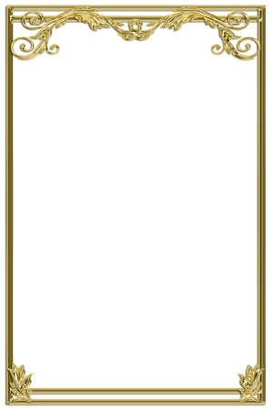 Golden vintage borde decorative frame Foto de archivo