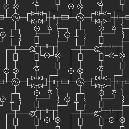 seamless pattern with electric circuit Vektoros illusztráció