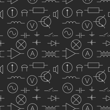 ammeter: seamless pattern with electric elements
