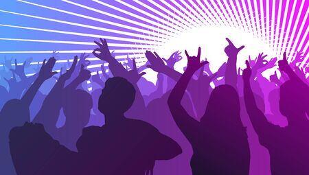 people: Silhouettes of dancing people in club in front of bright stage lights - disco concept, vector illustration
