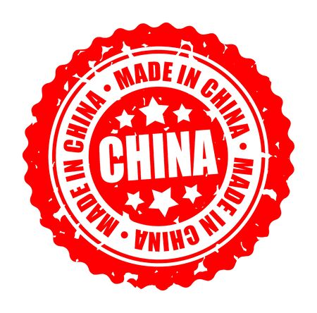 Vector illustration round stamp MADE IN CHINA