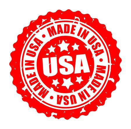 Vector illustration round stamp MADE IN USA