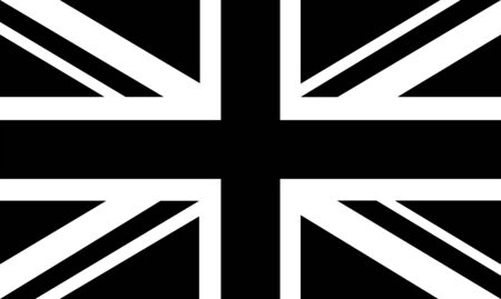 Black and White United Kingdom flag - Brexit. United Kingdom exit from the European Union. Election or referendum in Great Britain.
