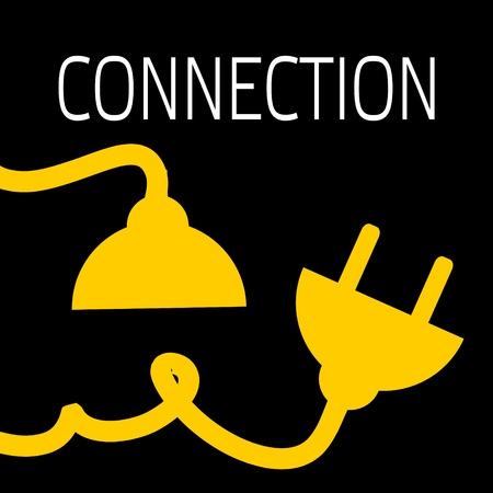 Concept connection or disconnection electricity. Yellow power plug on black background.
